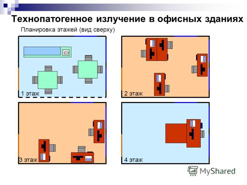 Технопатогенное излучение в офисных зданиях Планировка этажей (вид сверху) 2 этаж 4 этаж 1 этаж 3 этаж