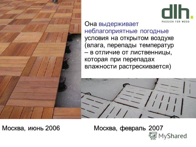 Она выдерживает неблагоприятные погодные условия на открытом воздухе (влага, перепады температур – в отличие от лиственницы, которая при перепадах влажности растрескивается) Москва, июнь 2006 Москва, февраль 2007