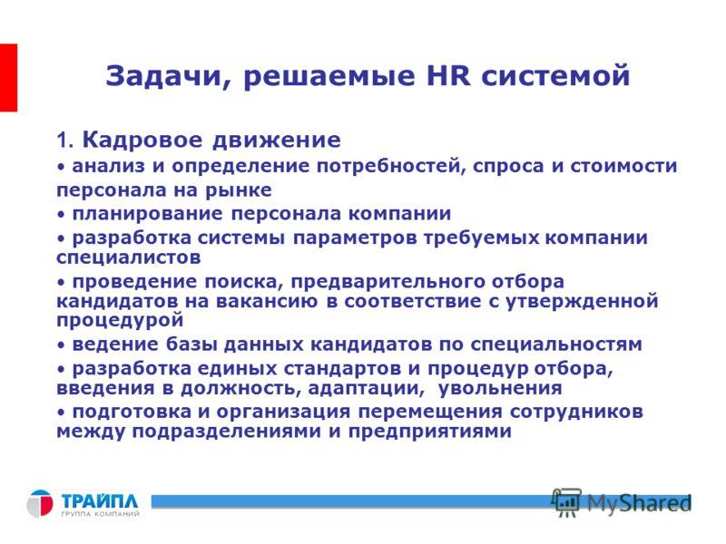 Задачи, решаемые HR системой 1. Кадровое движение анализ и определение потребностей, спроса и стоимости персонала на рынке планирование персонала компании разработка системы параметров требуемых компании специалистов проведение поиска, предварительно