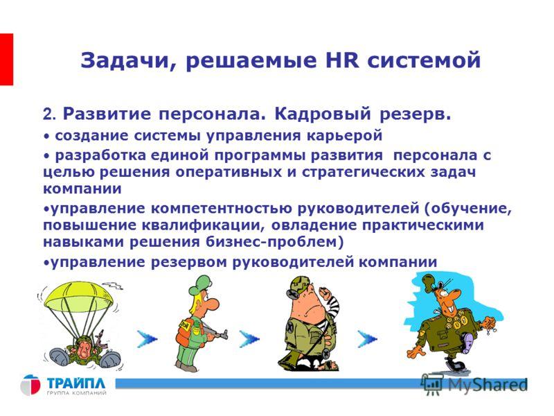 Задачи, решаемые HR системой 2. Развитие персонала. Кадровый резерв. создание системы управления карьерой разработка единой программы развития персонала с целью решения оперативных и стратегических задач компании управление компетентностью руководите