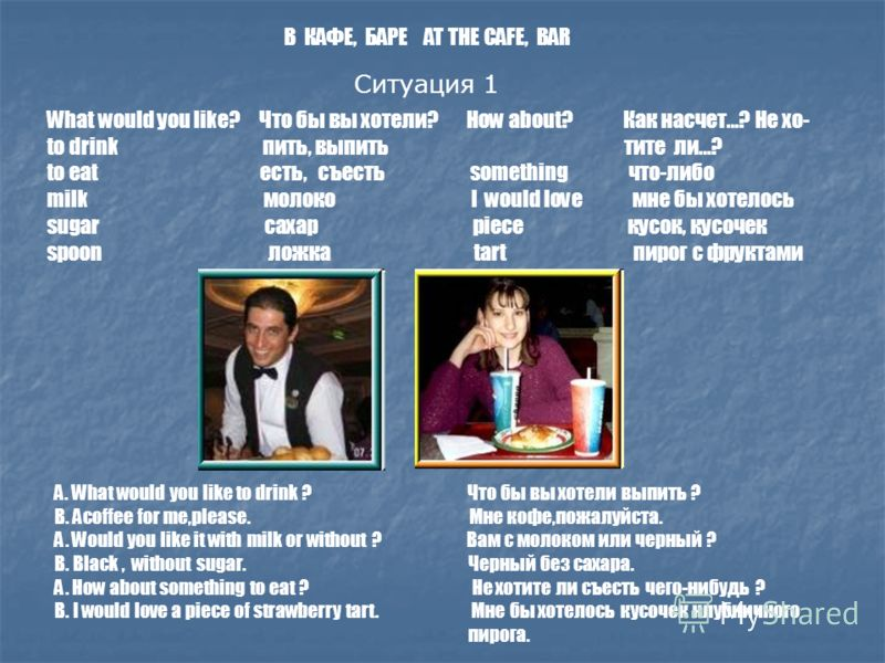 Ситуация 1 What would you like? Что бы вы хотели? How about? Как насчет…? Не хо- to drink пить, выпить тите ли…? to eat есть, съесть something что-либо milk молоко I would love мне бы хотелось sugar сахар piece кусок, кусочек spoon ложка tart пирог с