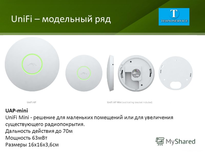 UniFi – модельный ряд UAP-mini UniFi Mini - решение для маленьких помещений или для увеличения существующего радиопокрытия. Дальность действия до 70м Мощность 63мВт Размеры 16х16х3,6см