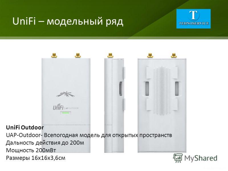 UniFi – модельный ряд UniFi Outdoor UAP-Outdoor- Всепогодная модель для открытых пространств Дальность действия до 200м Мощность 200мВт Размеры 16х16х3,6см