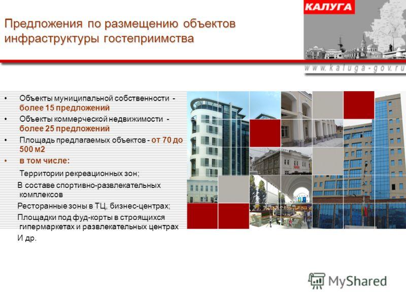 Предложения по размещению объектов инфраструктуры гостеприимства Объекты муниципальной собственности - более 15 предложений Объекты коммерческой недвижимости - более 25 предложений Площадь предлагаемых объектов - от 70 до 500 м2 в том числе: Территор
