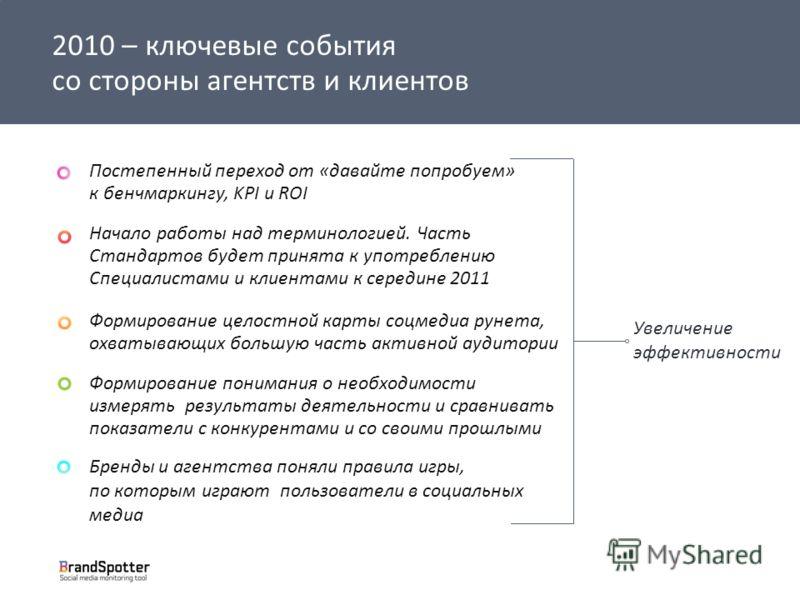 t 2010 – ключевые события со стороны агентств и клиентов Постепенный переход от «давайте попробуем» к бенчмаркингу, KPI и ROI Начало работы над терминологией. Часть Стандартов будет принята к употреблению Cпециалистами и клиентами к середине 2011 Фор