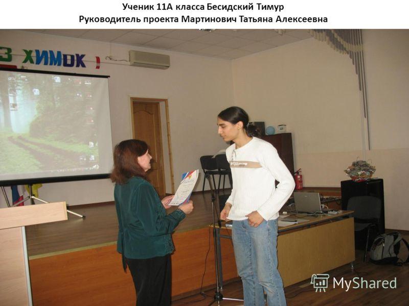 Ученик 11А класса Бесидский Тимур Руководитель проекта Мартинович Татьяна Алексеевна