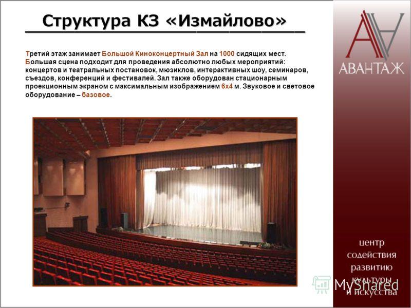 Третий этаж занимает Большой Киноконцертный Зал на 1000 сидящих мест. Большая сцена подходит для проведения абсолютно любых мероприятий: концертов и театральных постановок, мюзиклов, интерактивных шоу, семинаров, съездов, конференций и фестивалей. За