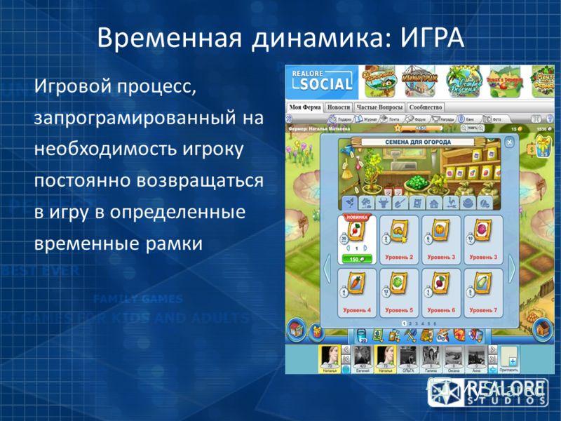 Временная динамика: ИГРА Игровой процесс, запрограмированный на необходимость игроку постоянно возвращаться в игру в определенные временные рамки