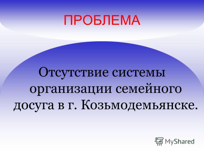 ПРОБЛЕМА Отсутствие системы организации семейного досуга в г. Козьмодемьянске.
