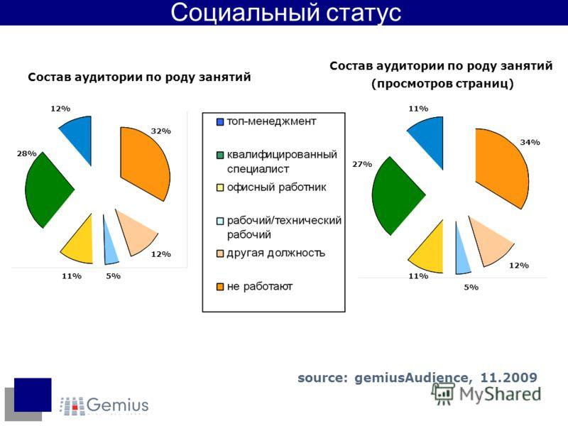 28% 12% 32% 12% 5%11% Состав аудитории по роду занятий 34% 11% 27% 11% 5% 12% Состав аудитории по роду занятий (просмотров страниц) Социальный статус source: gemiusAudience, 11.2009