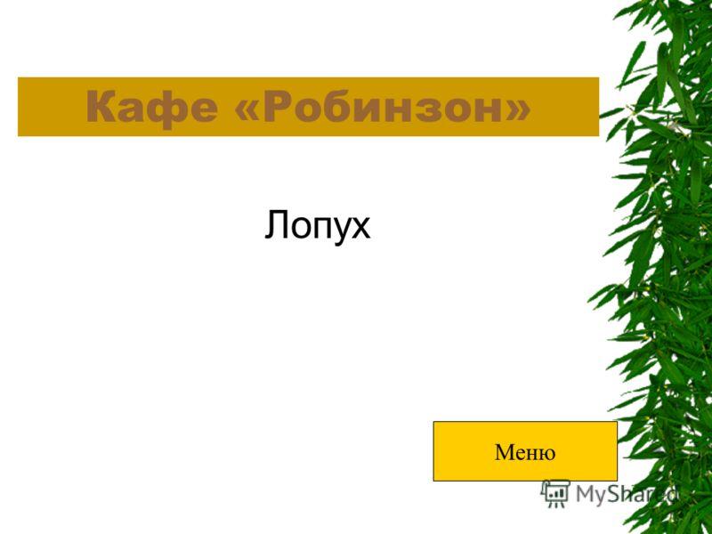 Кафе «Робинзон» Лопух Меню
