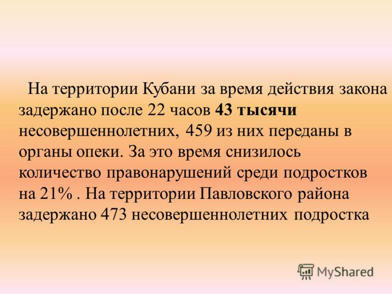На территории Кубани за время действия закона задержано после 22 часов 43 тысячи несовершеннолетних, 459 из них переданы в органы опеки. За это время снизилось количество правонарушений среди подростков на 21%. На территории Павловского района задерж
