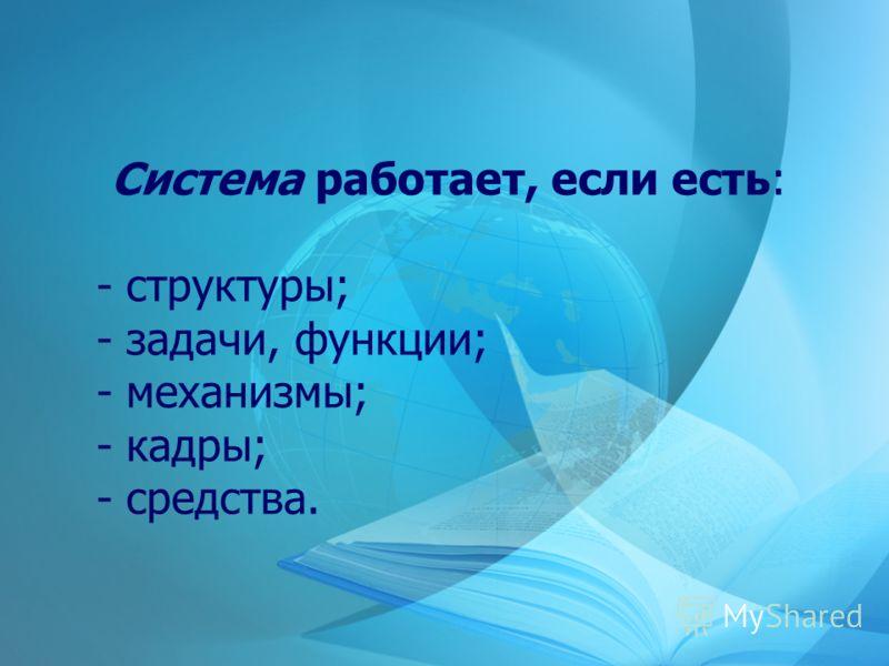 Система работает, если есть: - структуры; - задачи, функции; - механизмы; - кадры; - средства.