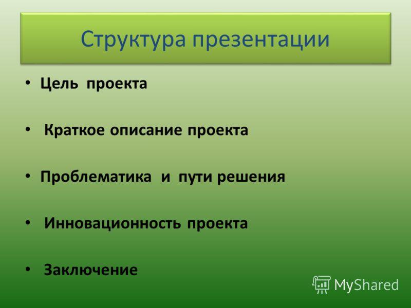 Структура презентации Цель проекта Краткое описание проекта Проблематика и пути решения Инновационность проекта Заключение