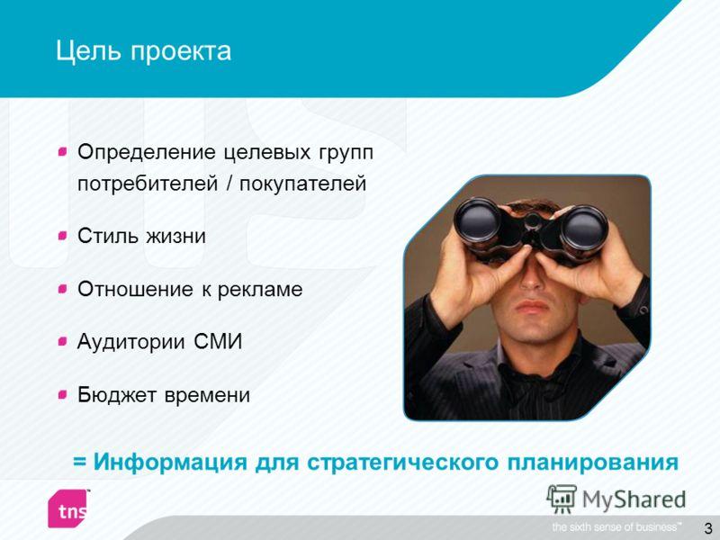 3 Цель проекта Определение целевых групп потребителей / покупателей Стиль жизни Отношение к рекламе Аудитории СМИ Бюджет времени = Информация для стратегического планирования
