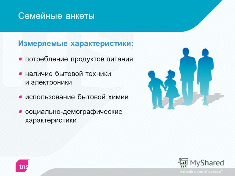 Семейные анкеты Измеряемые характеристики: потребление продуктов питания наличие бытовой техники и электроники использование бытовой химии социально-демографические характеристики