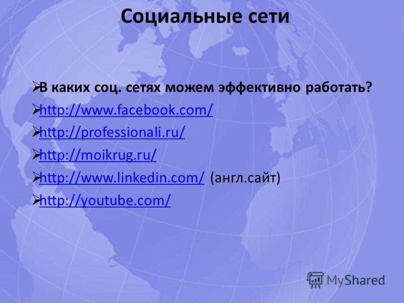 Социальные сети В каких соц. сетях можем эффективно работать? http://www.facebook.com/ http://professionali.ru/ http://moikrug.ru/ http://www.linkedin.com/ (англ.сайт) http://www.linkedin.com/ http://youtube.com/