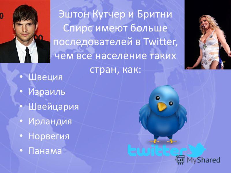 Эштон Кутчер и Бритни Спирс имеют больше последователей в Twitter, чем все население таких стран, как: Швеция Израиль Швейцария Ирландия Норвегия Панама