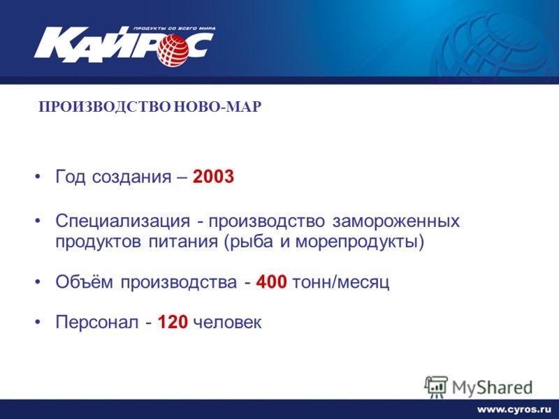 ПРОИЗВОДСТВО НОВО-МАР Год создания – 2003 Специализация - производство замороженных продуктов питания (рыба и морепродукты) Объём производства - 400 тонн/месяц Персонал - 120 человек