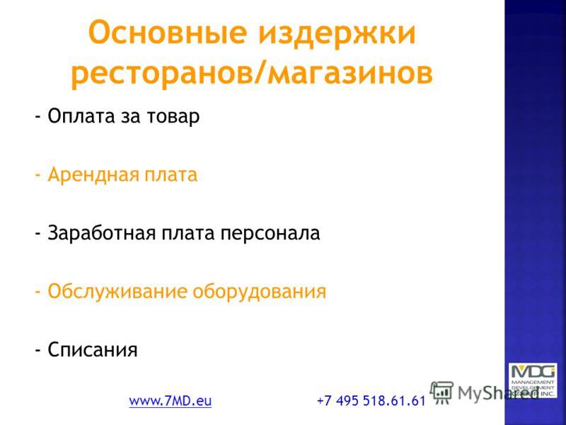 - Оплата за товар - Арендная плата - Заработная плата персонала - Обслуживание оборудования - Списания www.7MD.euwww.7MD.eu +7 495 518.61.61