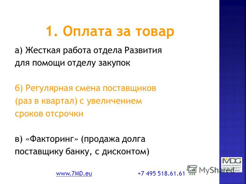 а) Жесткая работа отдела Развития для помощи отделу закупок б) Регулярная смена поставщиков (раз в квартал) с увеличением сроков отсрочки в) «Факторинг» (продажа долга поставщику банку, с дисконтом) www.7MD.euwww.7MD.eu +7 495 518.61.61