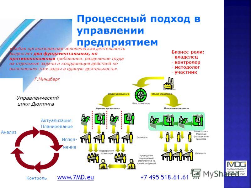 Процессный подход в управлении предприятием Бизнес-роли: - владелец - контролер - методолог - участник «Любая организованная человеческая деятельность выдвигает два фундаментальных, но противоположных требования: разделение труда на отдельные задачи