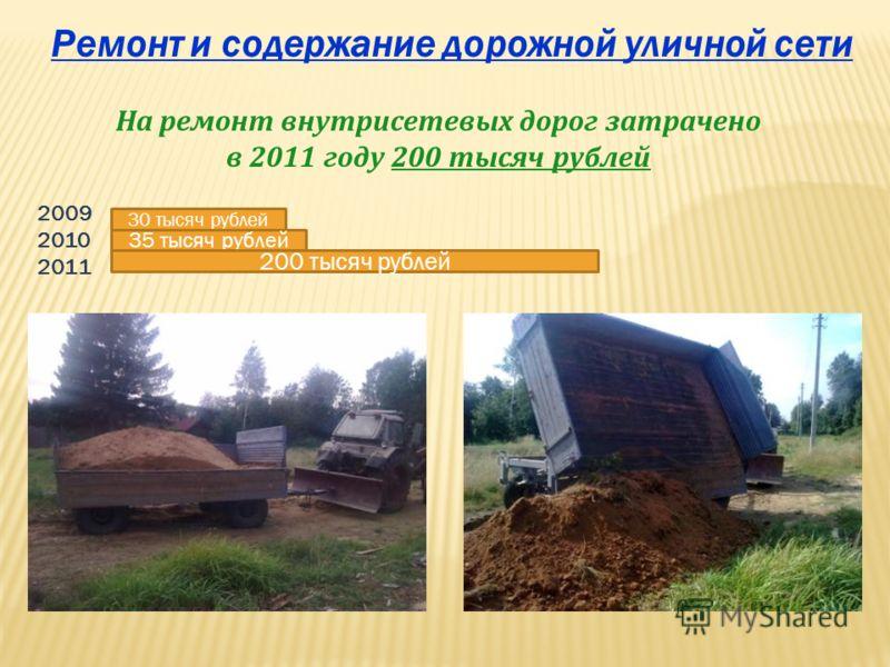 На ремонт внутрисетевых дорог затрачено в 2011 году 200 тысяч рублей 30 тысяч рублей 35 тысяч рублей 200 тысяч рублей 2009 2010 2011 Ремонт и содержание дорожной уличной сети