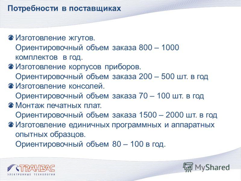 Потребности в поставщиках 0Изготовление жгутов. Ориентировочный объем заказа 800 – 1000 комплектов в год. 0Изготовление корпусов приборов. Ориентировочный объем заказа 200 – 500 шт. в год 0Изготовление консолей. Ориентировочный объем заказа 70 – 100