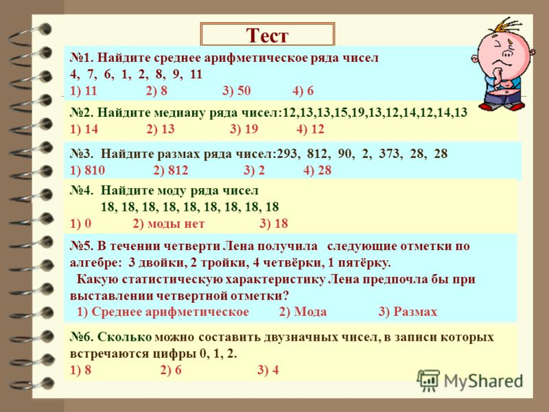 Тест 5. В течении четверти Лена получила следующие отметки по алгебре: 3 двойки, 2 тройки, 4 четвёрки, 1 пятёрку. Какую статистическую характеристику Лена предпочла бы при выставлении четвертной отметки? 1) Среднее арифметическое 2) Мода 3) Размах 1.