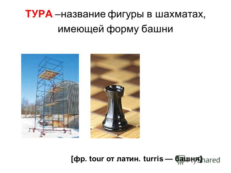 ТУРА –название фигуры в шахматах, имеющей форму башни [фр. tour от латин. turris башня]