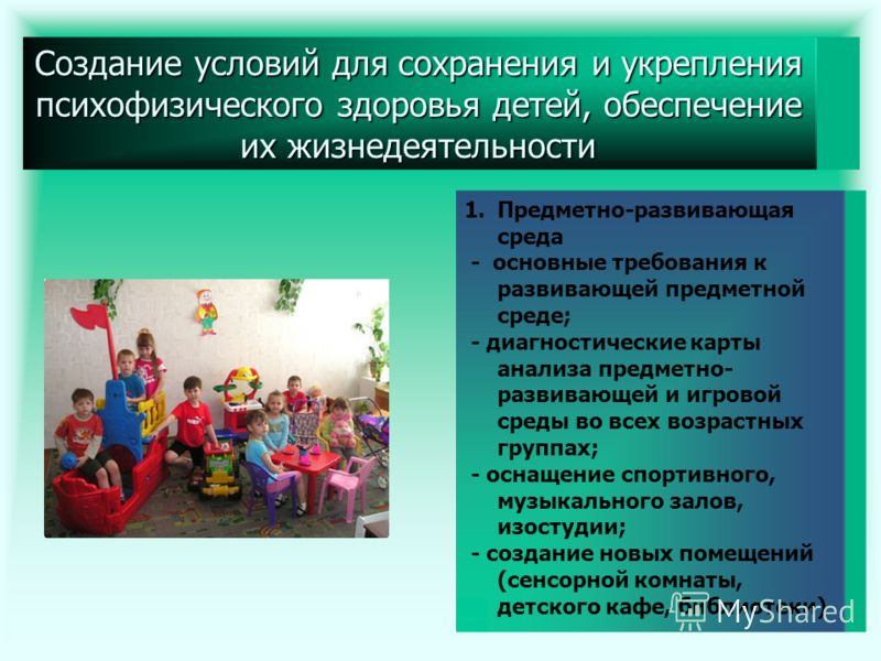 Создание условий для сохранения и укрепления психофизического здоровья детей, обеспечение их жизнедеятельности 1.Предметно-развивающая среда - основные требования к развивающей предметной среде; - диагностические карты анализа предметно- развивающей