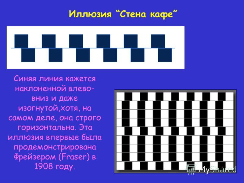 Синяя линия кажется наклоненной влево- вниз и даже изогнутой,хотя, на самом деле, она строго горизонтальна. Эта иллюзия впервые была продемонстрирована Фрейзером (Fraser) в 1908 году. Иллюзия Стена кафе