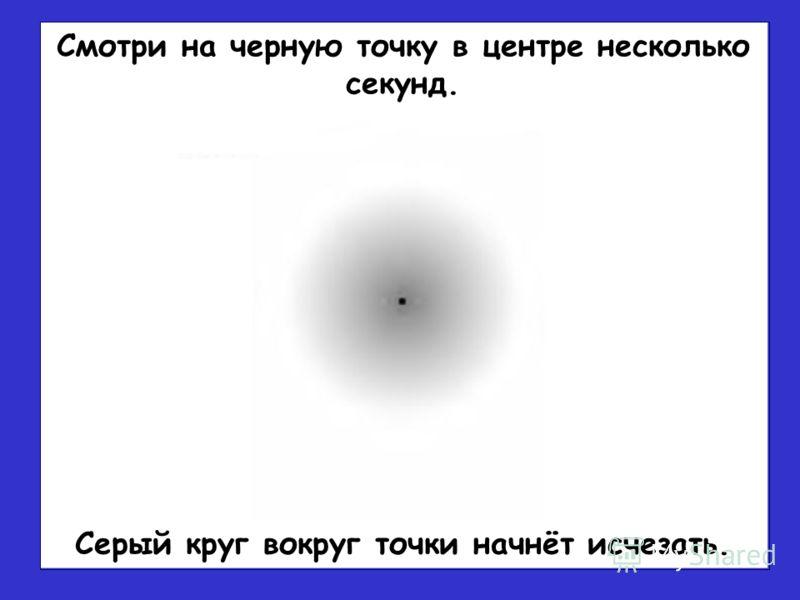 Серый круг вокруг точки начнёт исчезать. Смотри на черную точку в центре несколько секунд.