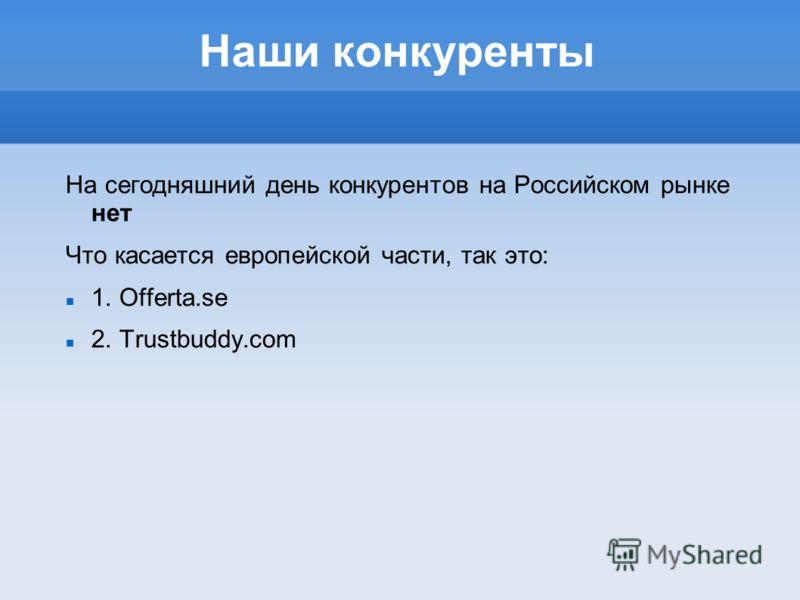 Наши конкуренты На сегодняшний день конкурентов на Российском рынке нет Что касается европейской части, так это: 1. Offerta.se 2. Trustbuddy.com