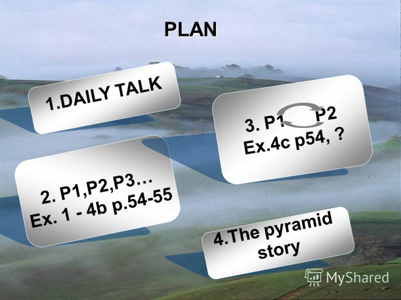 PLAN 1.DAILY TALK 2. P1,P2,P3… Ex. 1 - 4b p.54-55 3. P1 P2 Ex.4c p54, ? 4.The pyramid story