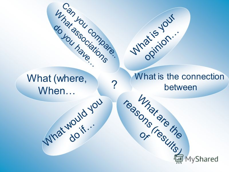 ? What would you do if… Can you compare.. What associations do you have… What (where, When… What is your opinion… What is the connection between What are the reasons (results) of
