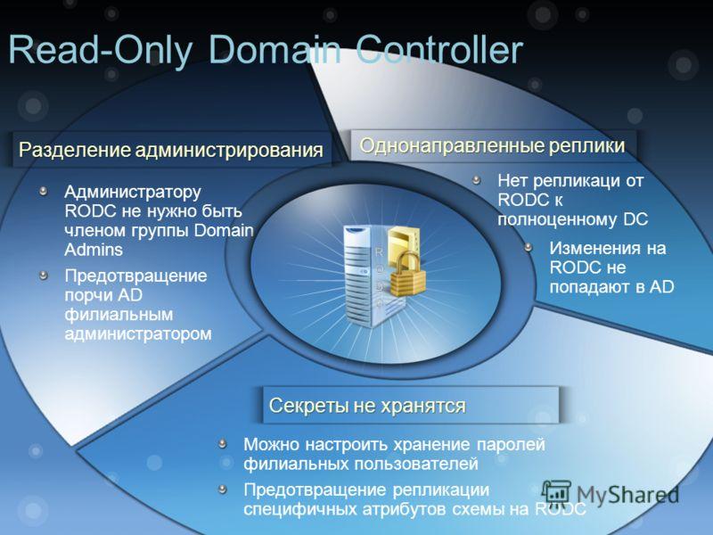 Администратору RODC не нужно быть членом группы Domain Admins Предотвращение порчи AD филиальным администратором Можно настроить хранение паролей филиальных пользователей Предотвращение репликации специфичных атрибутов схемы на RODC Нет репликаци от