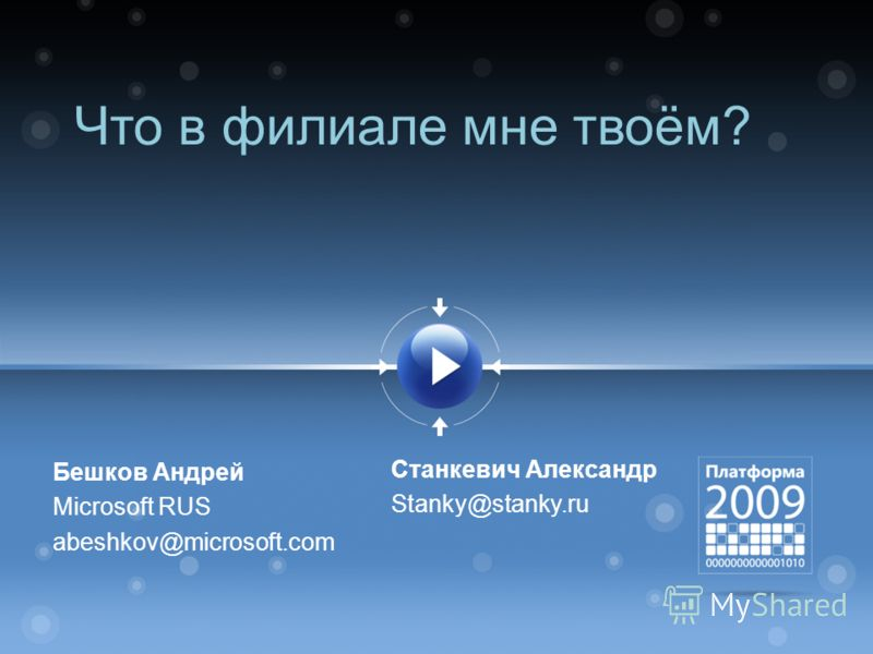 Что в филиале мне твоём? Бешков Андрей Microsoft RUS abeshkov@microsoft.com Cтанкевич Александр Stanky@stanky.ru