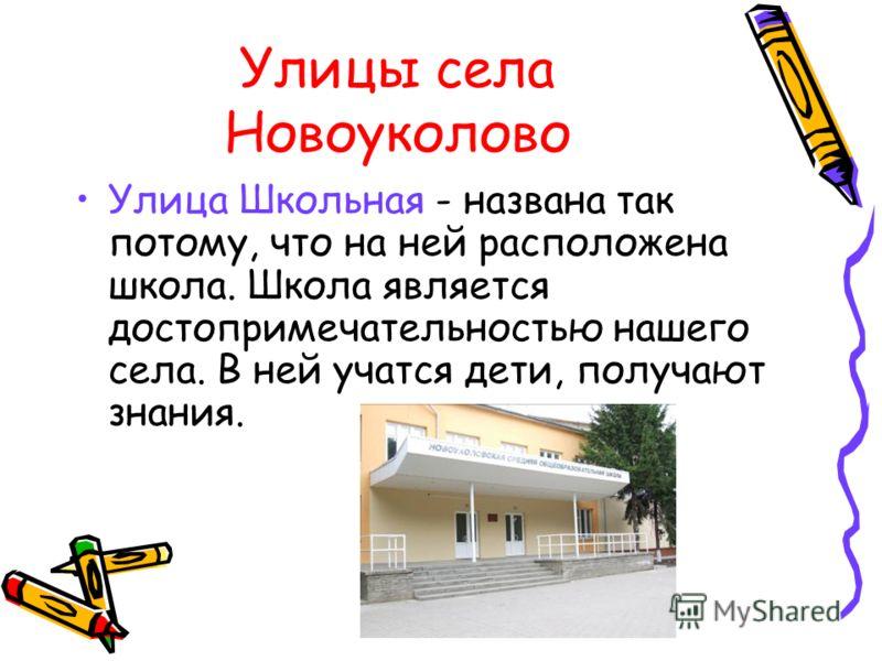 Улицы села Новоуколово Улица Школьная - названа так потому, что на ней расположена школа. Школа является достопримечательностью нашего села. В ней учатся дети, получают знания.