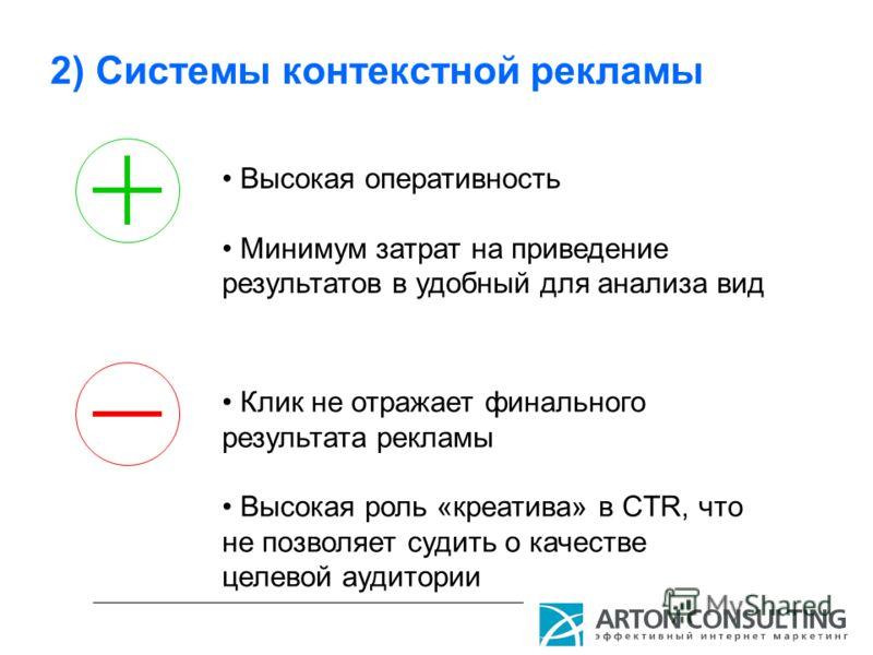 2) Системы контекстной рекламы Высокая оперативность Минимум затрат на приведение результатов в удобный для анализа вид Клик не отражает финального результата рекламы Высокая роль «креатива» в CTR, что не позволяет судить о качестве целевой аудитории