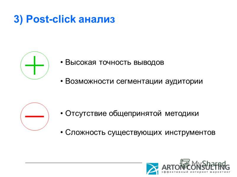 3) Post-click анализ Высокая точность выводов Возможности сегментации аудитории Отсутствие общепринятой методики Сложность существующих инструментов