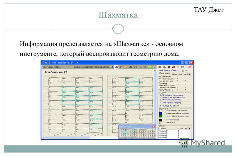 Шахматка Информация представляется на «Шахматке» - основном инструменте, который воспроизводит геометрию дома: ТАУ Джет