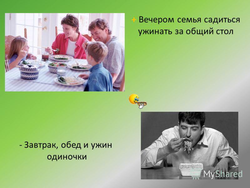 + Вечером семья садиться ужинать за общий стол - Завтрак, обед и ужин одиночки