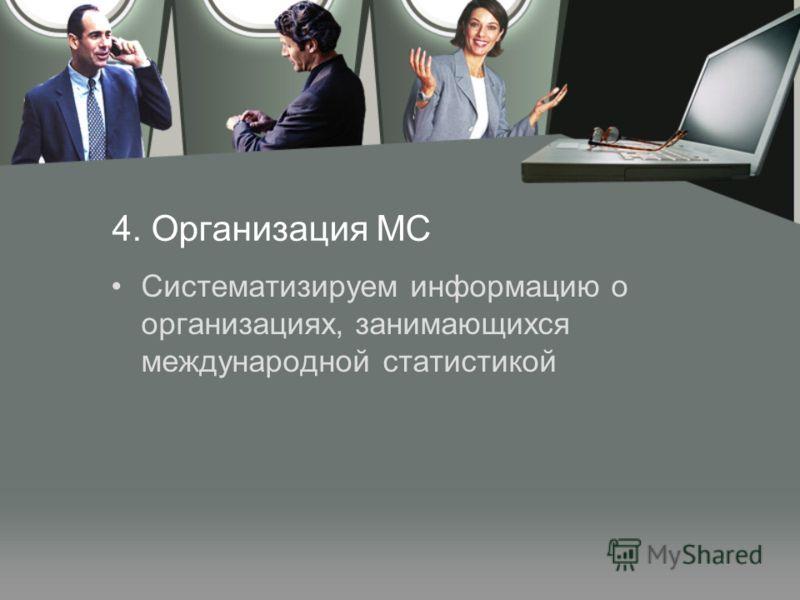 4. Организация МС Систематизируем информацию о организациях, занимающихся международной статистикой