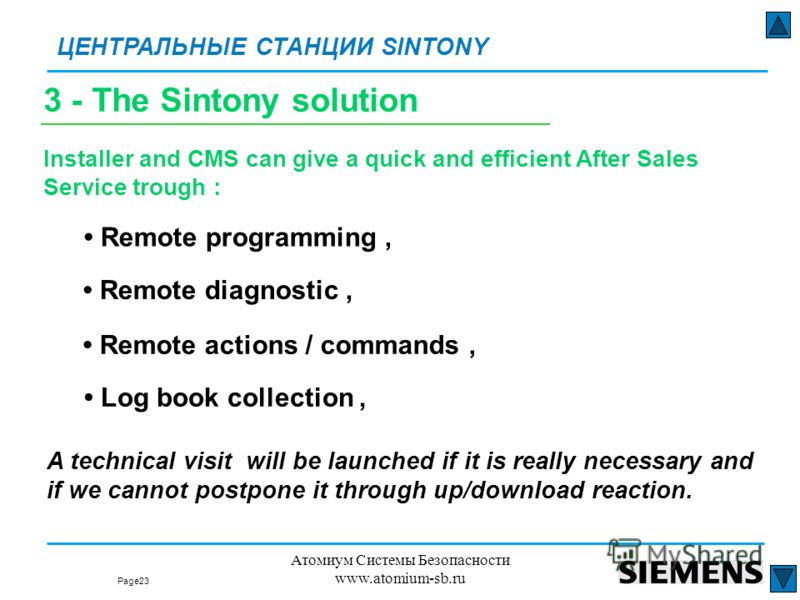 Page: ЦЕНТРАЛЬНЫЕ СТАНЦИИ SINTONY 23 Атомиум Системы Безопасности www.atomium-sb.ru Remote diagnostic, Installer and CMS can give a quick and efficient After Sales Service trough : Remote actions / commands, Log book collection, A technical visit wil
