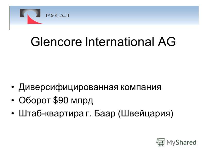 Glencore International AG Диверсифицированная компания Оборот $90 млрд Штаб-квартира г. Баар (Швейцария)