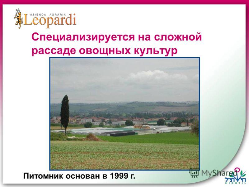 Питомник основан в 1999 г. Специализируется на сложной рассаде овощных культур
