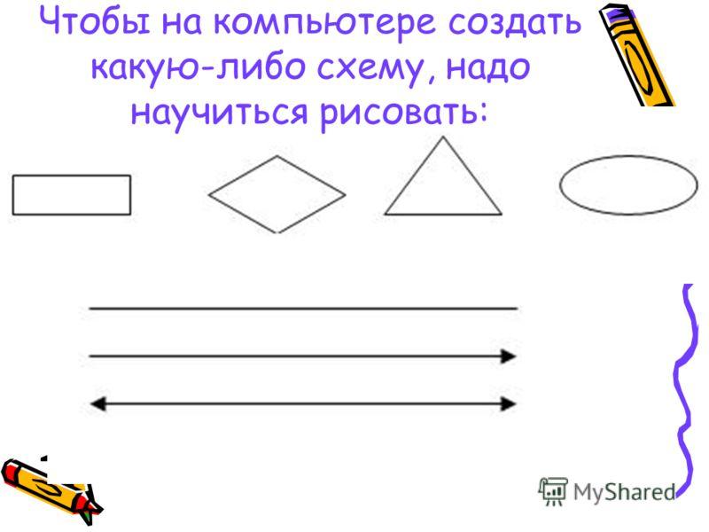 Чтобы на компьютере создать какую-либо схему, надо научиться рисовать: