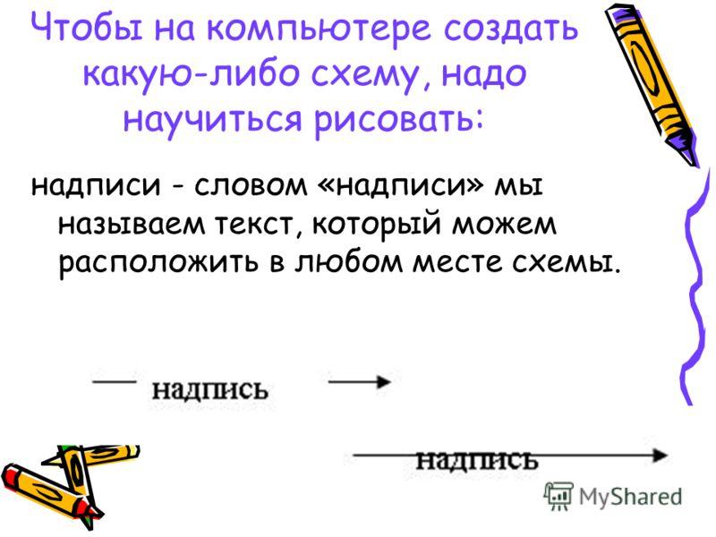 надписи - словом «надписи» мы называем текст, который можем расположить в любом месте схемы.