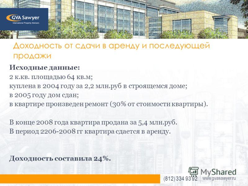(812) 334 93 92 www.gvasawyer.ru Доходность от сдачи в аренду и последующей продажи Исходные данные: 2 к.кв. площадью 64 кв.м; куплена в 2004 году за 2,2 млн.руб в строящемся доме; в 2005 году дом сдан; в квартире произведен ремонт (30% от стоимости